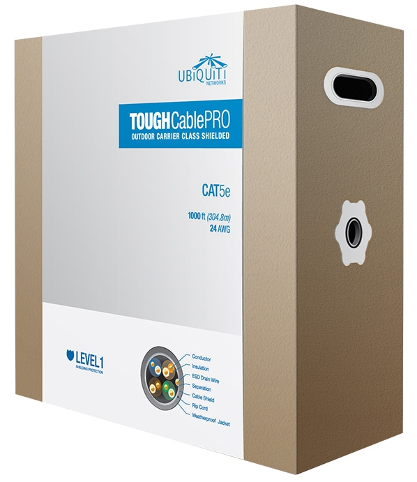 Ubiquiti TC PRO ToughCable PRO 1000ft Pull Box CAT5E Outdoor Successor To TC